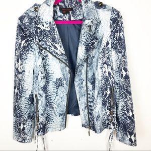 Simon Chang | Blue Snakeskin Print Jacket| Size 10